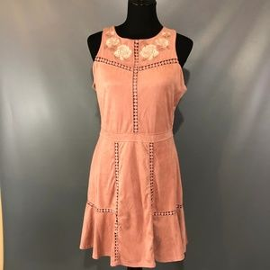 Skylar and Jade Pink Suede Sleeveless Dress XL